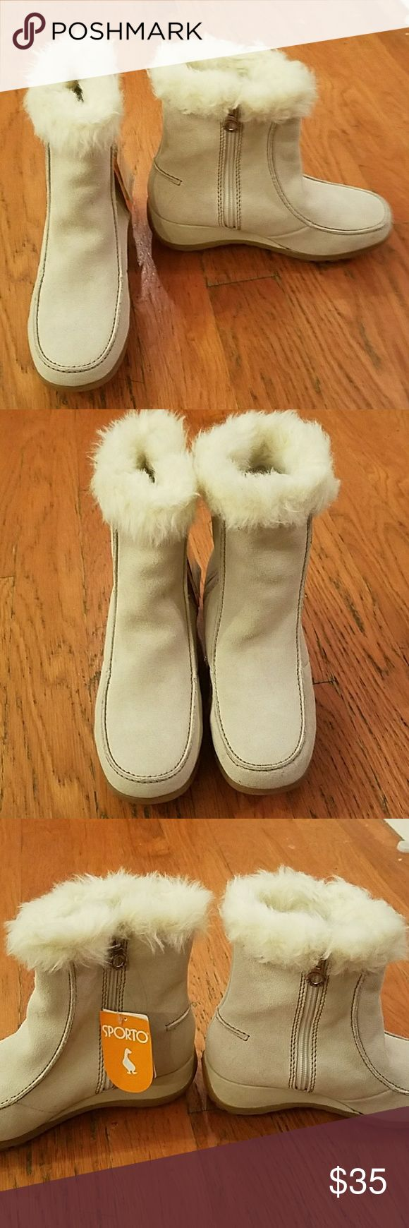 NWT Sporto Boots Size 7 1/2 NWT Ivory Faux Fur Thermal barrier Water Proof Sporto Shoes Winter & Rain Boots