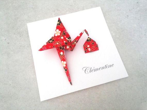 Faire part de naissance en origami fille garçon - carte double irisé cigogne origami rouge et noir en papier japonais
