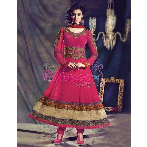 Lovely Pink Georgette Wedding Anarkali Kameez