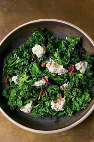 Image result for Burnt spring onion dip with curly kale