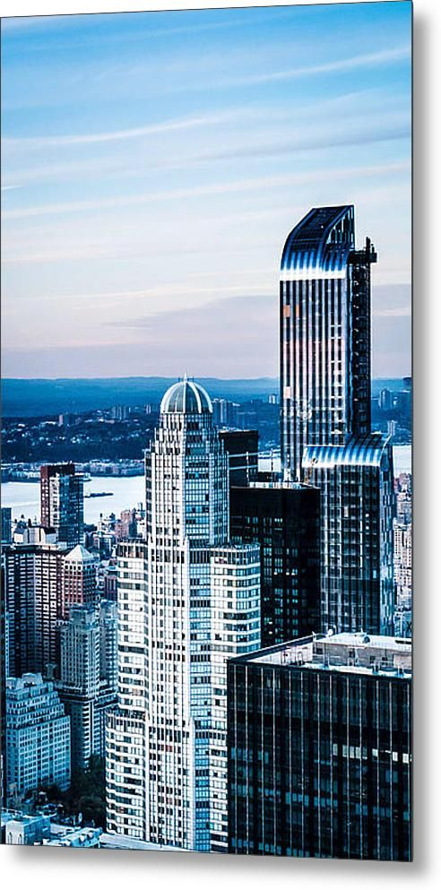 new york skyline fabulous xxl metal print of nyc shades of blue print by