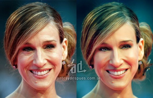 Sarah Jessica Parker Photoshop Makeover - the before and after of celebrity retouching and airbrushing ... for REAL makeovers for REAL women contact www.stylecreation.com.au !