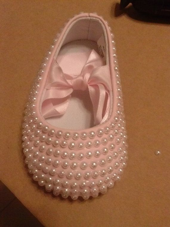 baby bling shoe pearl shoes baptism by kendrascreativeideas, $35.00