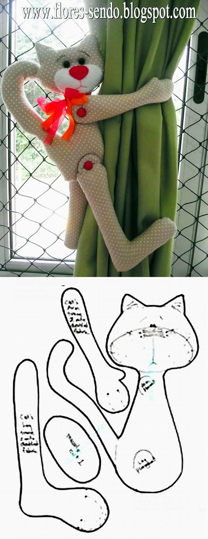 Vorhanghalter Katze - gefunden auf www.modaeacessorios-feltromara.blogspot.ch