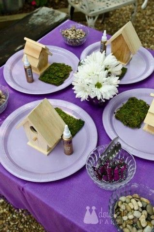 Cute craft or decoration: fairy houses i like this sites idea of reading a fairy book at the party as well...its in the activities section