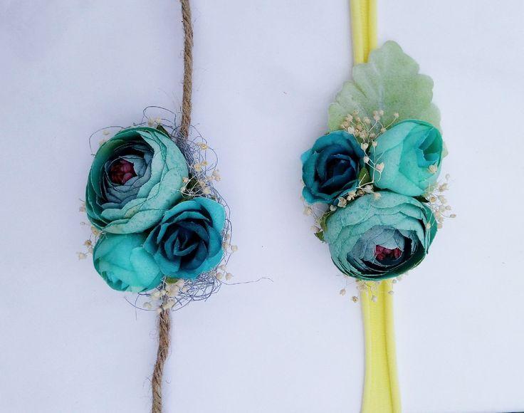 newborn tieback - baby headband - newborn photo prop - photography prop - Green/Blue Floral stretch headband
