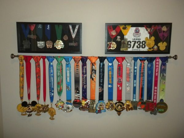 Showing Off the Bling found on Runner Leana - Ideas for displaying race medals and bibs.
