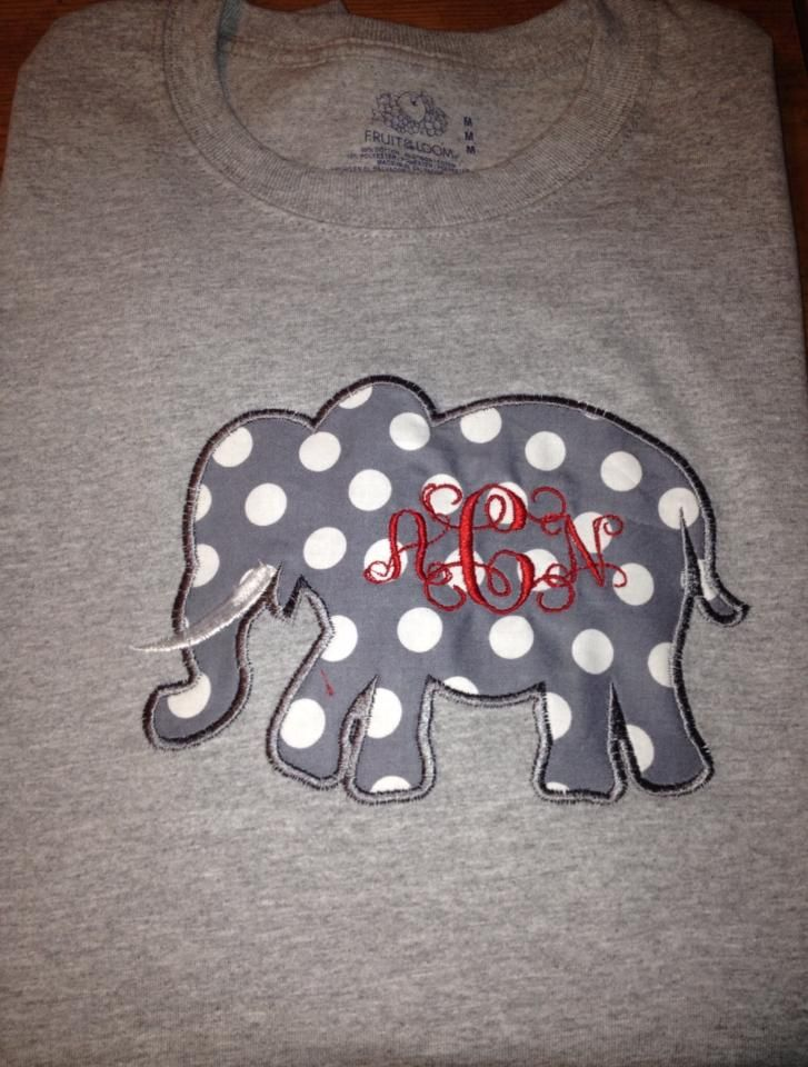 T-Shirt, Long Sleeve, Alabama Shirt, Polka Dot Elephant with Monogram $22