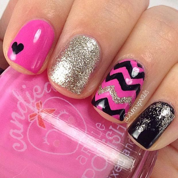 Black, Pink and Gold Nail Design