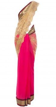 Fuschia and gold Chantilly lace sari