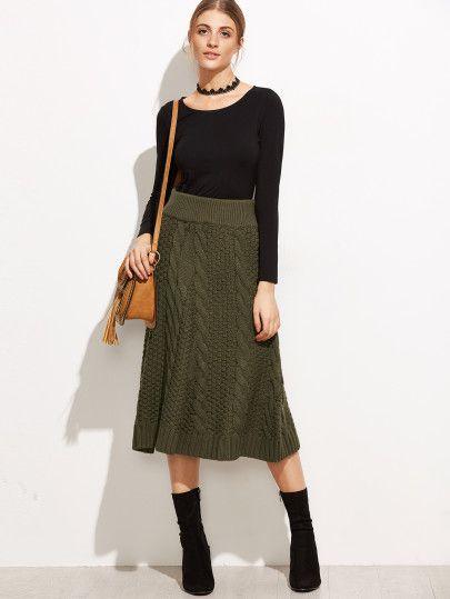 Kable knit skirt~looks so so charming~  #Armygreen Z#A-Line