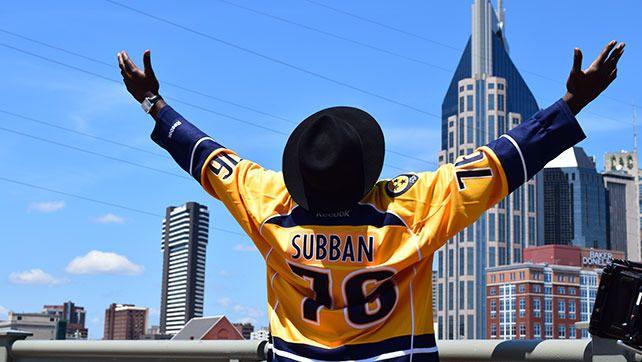 Nashville Predators defenseman PK Subban visits his new city, sings Johnny Cash and surprises children.