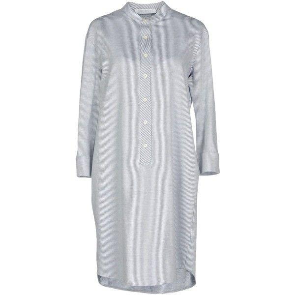 Harris Wharf London Short Dress (275 CAD) ❤ liked on Polyvore featuring dresses, slate blue, flannel shirt dress, 3 4 length sleeve dress, three quarter sleeve dress, 3/4 sleeve dresses and long shirt dress