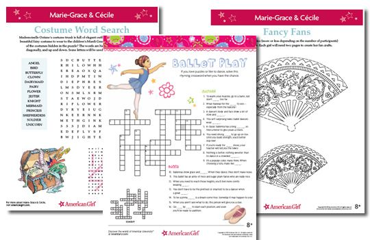 Free printables from mazes to crafts and more for all the American Girl doll characters.