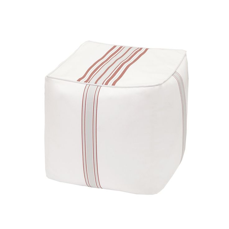 Madison Park Bolinas Coral/White Printed Stripe 3M Scotchgard Outdoor Pouf (18x18x18-Coral/White), Red, Size Specialty