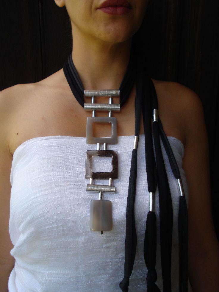 Adjustable Necklace,Handmade statement necklace, semi precious stones Agate, Unique Piece. Info and price: dendesign@live.com