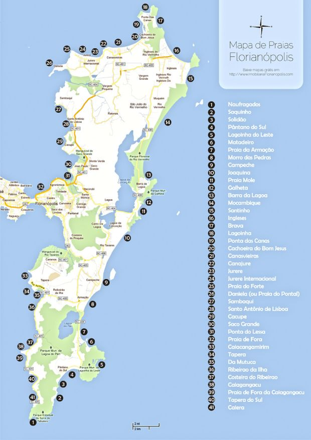 mapa praias Florianopolis a bussola quebrada