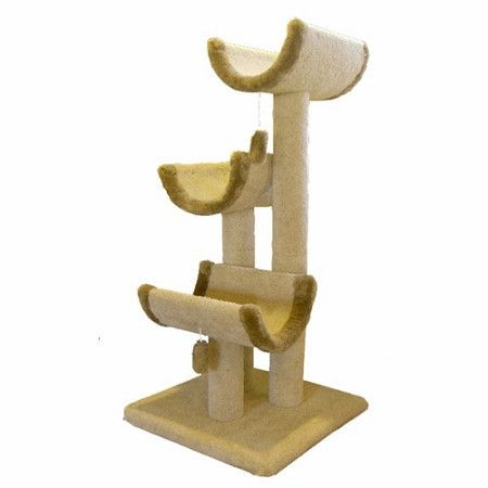 """Majestic 51 Inch Cat Tree Jungle Gym – Covered in designer carpet. This Kitty Cat Furniture features three lounging platforms for your cat or kittens long afternoon naps. This cat scratching post is great for homes with multiple cats. Assembles in minutes with simple step by step instructions. Cleans easily with a vacuum and damp cloth. Dimensions: L 25"""" x W 25"""" x H 51"""" inches.  """"Like"""" or """"Pin"""" this and use discount code """"Pin5"""" for 5% off."""