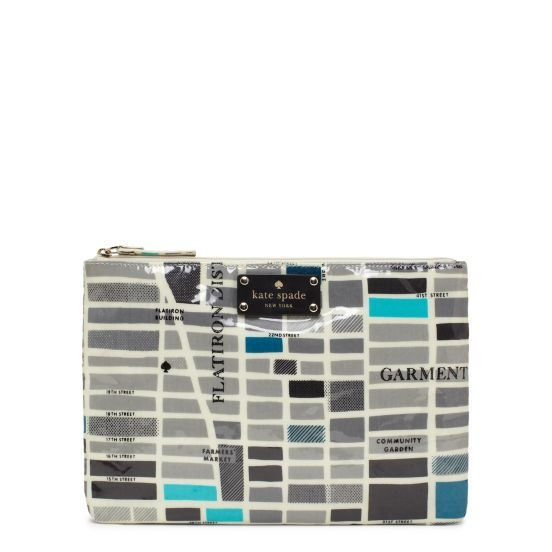 "kate spade | designer cosmetic bags - daycation large flat pouch ""streets of new york"""