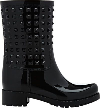 Valentino: Rockstud Short Rain Boots. Rain boots, fall outfit. See more pictures >>> http://bit.ly/1Pv5AF1