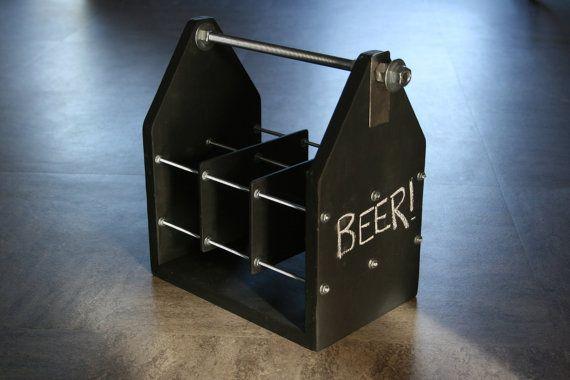 Chalkboard Beer Caddy by moosicorn on Etsy, $50.00 beer carrier | oktoberfest | beverage carrier