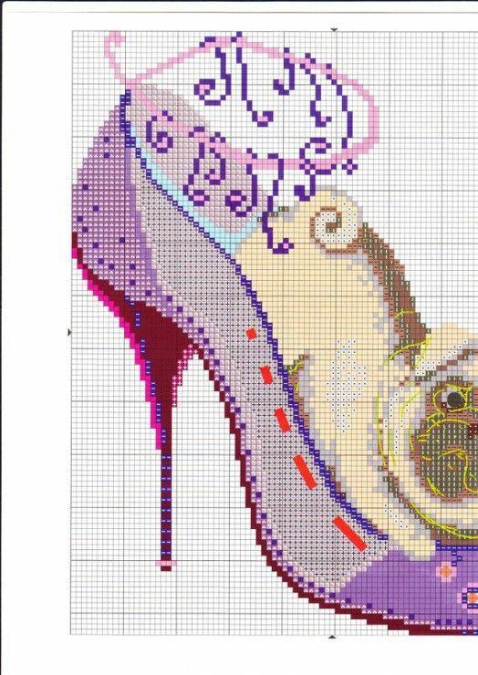 cross stitch dog in high heel shoe 1
