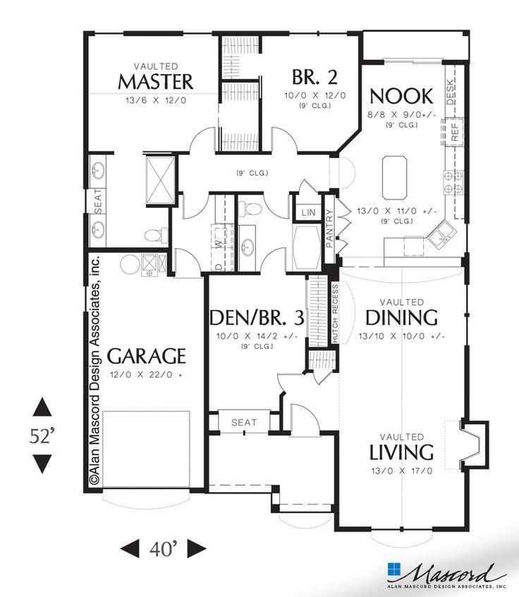 Main Floor Plan Of Mascord Plan 1155 The Wenlock
