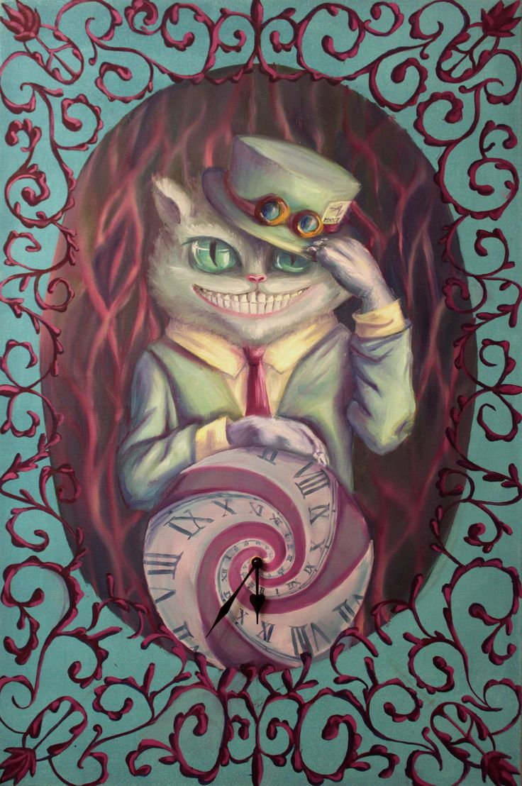"""""""Surreality"""" - Oil painting - Cheshire Cat - cat art"""