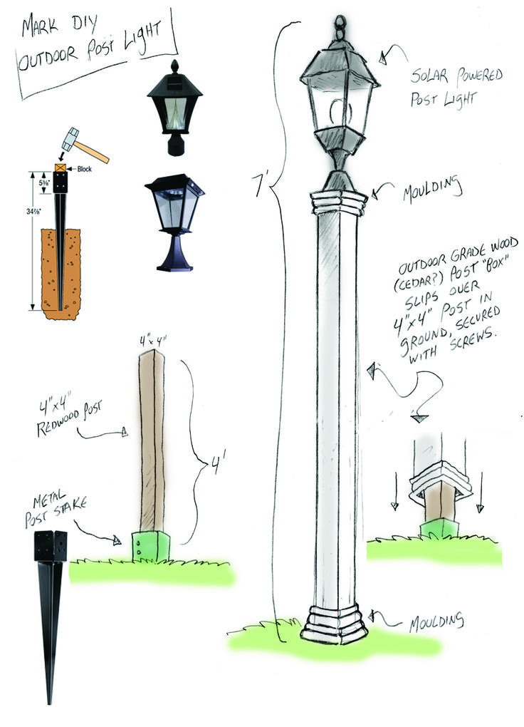 Outdoor Solar Lamppost DIY - Home & Family                                                                                                                                                      More