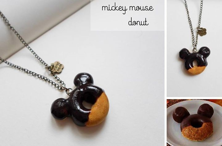 cute mickey mouse chocolate donut necklace   miniature polymer clay food jewelry  sweet