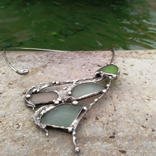 Jewellery Necklace sea glass and a mixture of metals