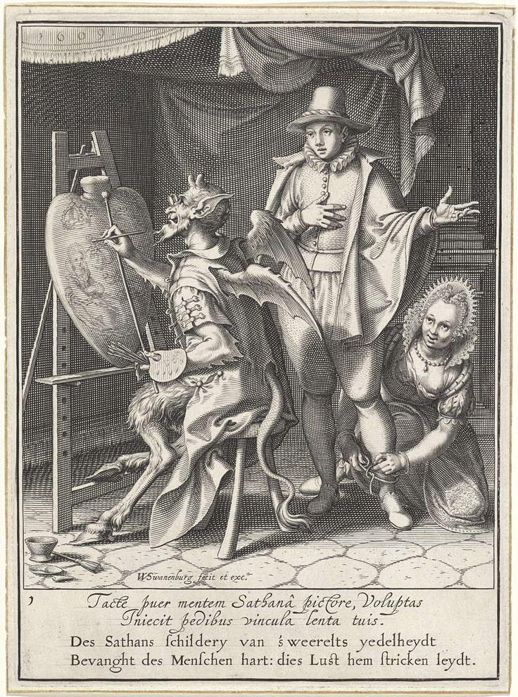 Willem Isaacsz. van Swanenburg | Duivel schilderend naast een begerige man, Willem Isaacsz. van Swanenburg, Maarten van Heemskerck, 1609 | De duivel zit achter een ezel. Op de ezel staat een menselijk hart, waarop hij symbolen van rijkdom en ijdelheid schildert. Bij hem staat een jonge man. Een vrouw knielt naast hem en knoopt een touw om zijn enkel. Onder de voorstelling bevindt zich een tweeregelige, Latijnse tekst en een tweeregelig, Nederlands gedicht waarin de voorstelling en de…