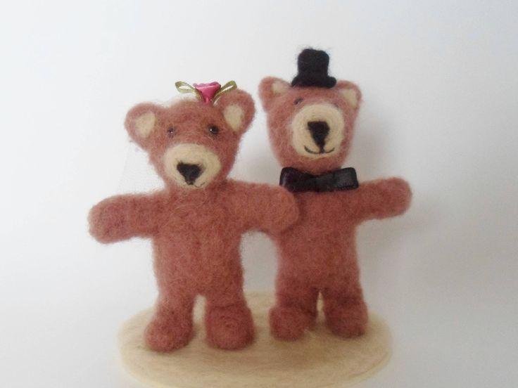 Teddy Bear Wedding Cake Topper Needle Felted by LaTatineFelt on Etsy