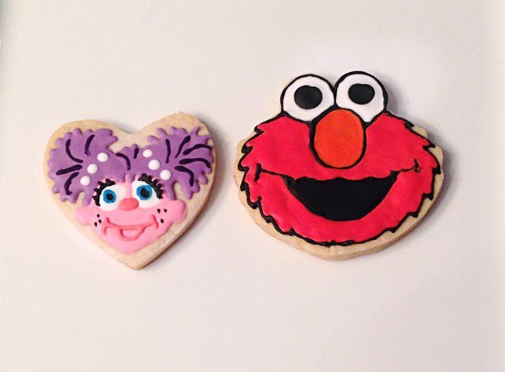 Custom Sesame Street Cookies  @sugarlovecookiesdesigns FB sugar love cookie designs