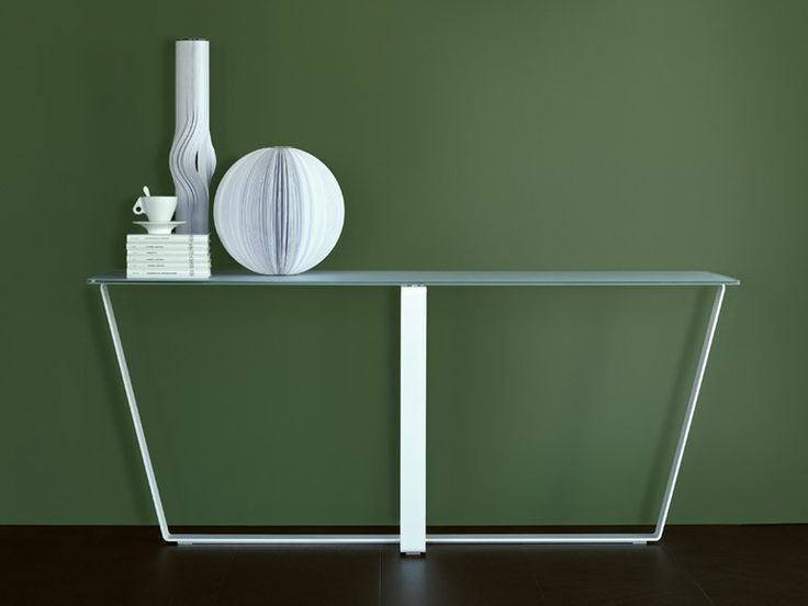 Rectangular glass and steel console table Sushi Collection by F.lli Orsenigo | design Umberto Asnago