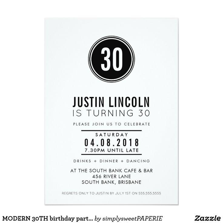 MODERN 30TH birthday party INVITE plain spot black #shopping  #birthdayinvitation #birthdayinvites #zazzlemade #zazzle #zazzlemade #invites #invitations #30thinvite #featurethis #adultinvitations #printedinvitation #featureme #minimalistinvitation #designermumma