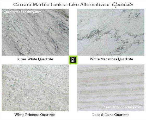 Four Quartzite Countertop Colors That Look Like Carrara Marble Collage.  Some Quartzite Etches Like Marble And Many Compare Its Durability To  Granite.