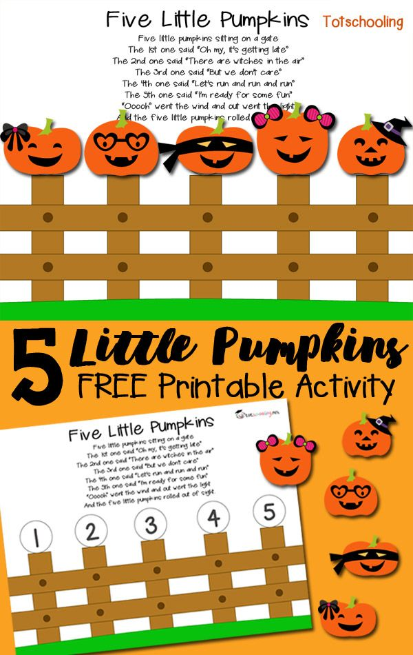 FREE 5 Little Pumpkins activity for toddlers and preschoolers to follow along with the popular nursery rhyme. Great for learning ordinal numbers and counting in the Fall and around Halloween.