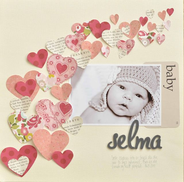#Papercraft #scrapbook #layout. Selma...Baby Layout ✿Join 1,500 others and Follow the Scrapbook Pages board. Visit GrannyEnchanted.Com for thousands of digital scrapbook freebies. ✿ Scrapbook Pages Board URL: https://www.pinterest.com/grannyenchanted/scrapbook-pages/