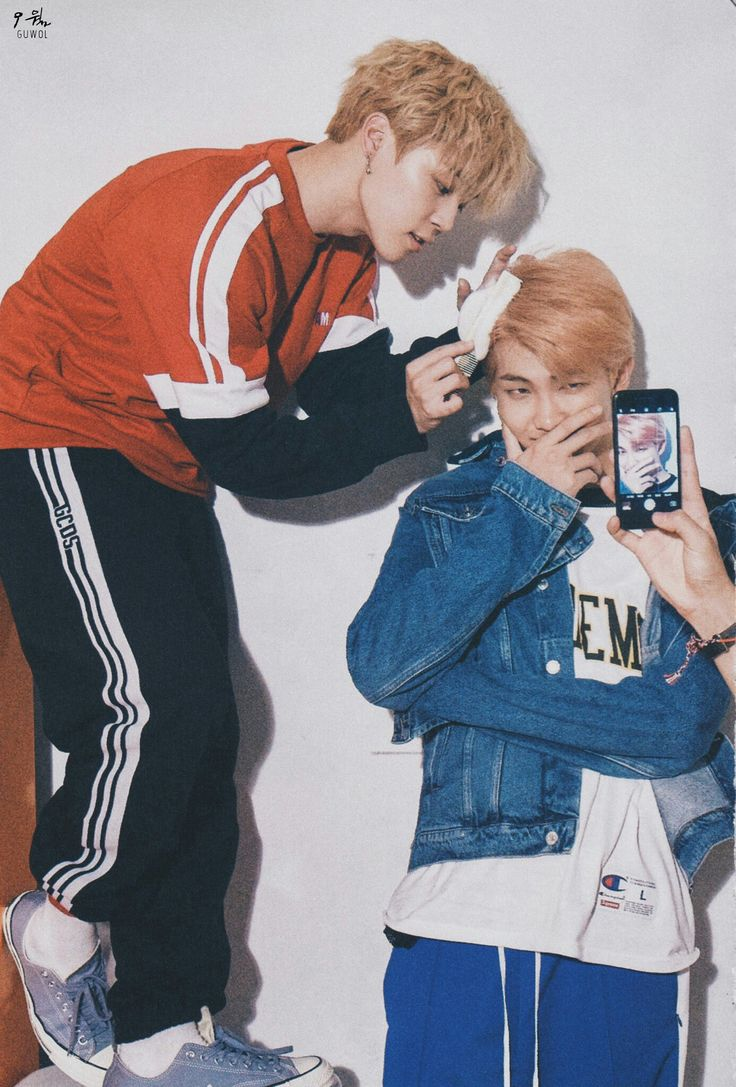 "JM: Namjoon you hair is so soft wow."" RM: Stop jimin I'm trying to take a picture here and I'm about laugh"""