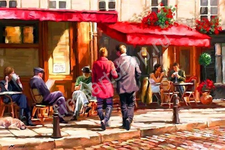 Итальянское кафе,художник Richard Macneil, картина-раскраска по №, размер 40х50см