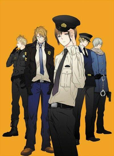Hetalia-Policia ; Holanda,America,Japón,Inglaterra y Rusia.