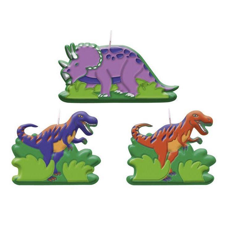 Zestaw 6 świeczek na tort z jednostronnym nadrukiem Dinozaury. Doskonała dekoracja na przyjęcie urodzinowe.
