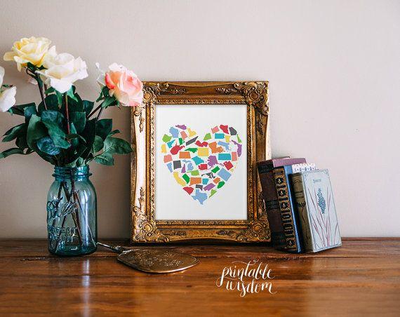 Another fun option - State Art heart print wall artwork printable typography 50 states -  Printable Wisdom