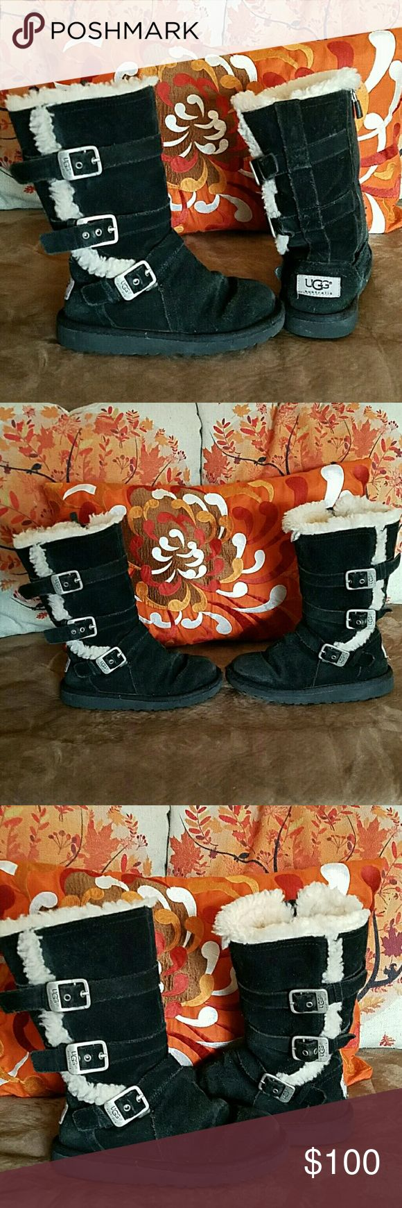 Genuine UGG Winter Boots For Girls Cute UGG boots in good preloved shape. Free of holes  tears or rips. Just normal creasing and fading. Thick lining and clean. Size 12 for little girls. UGG Shoes