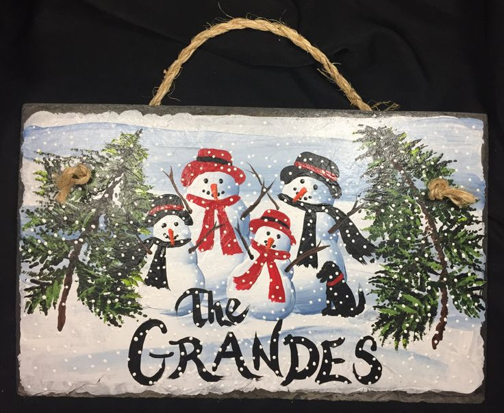 Personalized SNOWMAN FAMILY Hand Painted Slate Pine Trees NAME Favorite Slogan Est Established by DayAndNightCrafts on Etsy