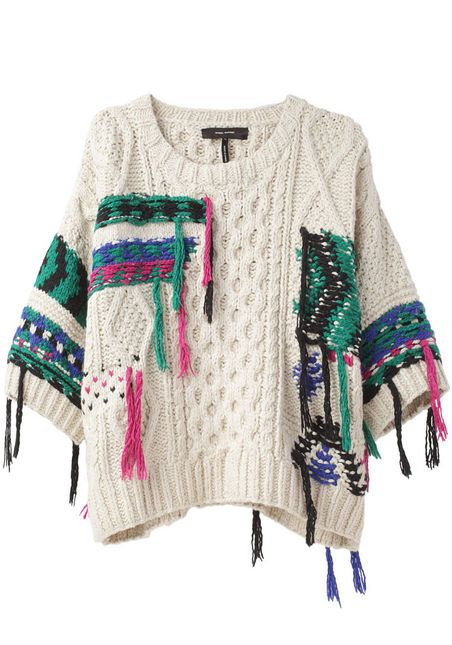 Lucy Handknit Pullover by Isabel Marant: Totally DIYable with old sweater, yarn, and crochet hook!