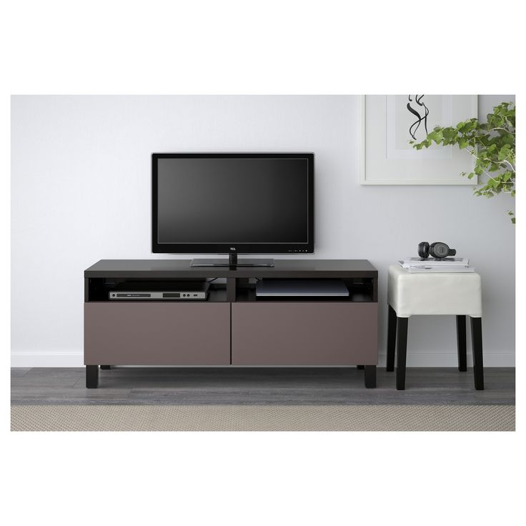 IKEA - BESTÅ TV unit with drawers black-brown, Valviken dark brown