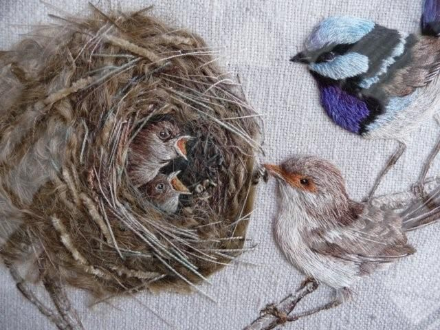 'The superb fairy-wren, or blue wren as it is more commonly known, is the subject of this superb lifelike study' by Bev Tully. 'A cosy nest has two hungry chicks, their tiny beaks open in anticipation of the coming meal' from their parents.