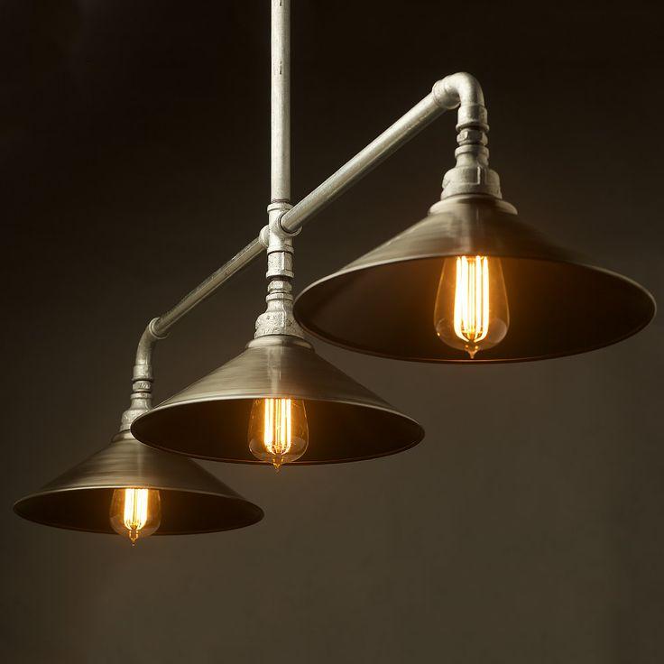 Large Galvanised Plumbing Pipe Table Light